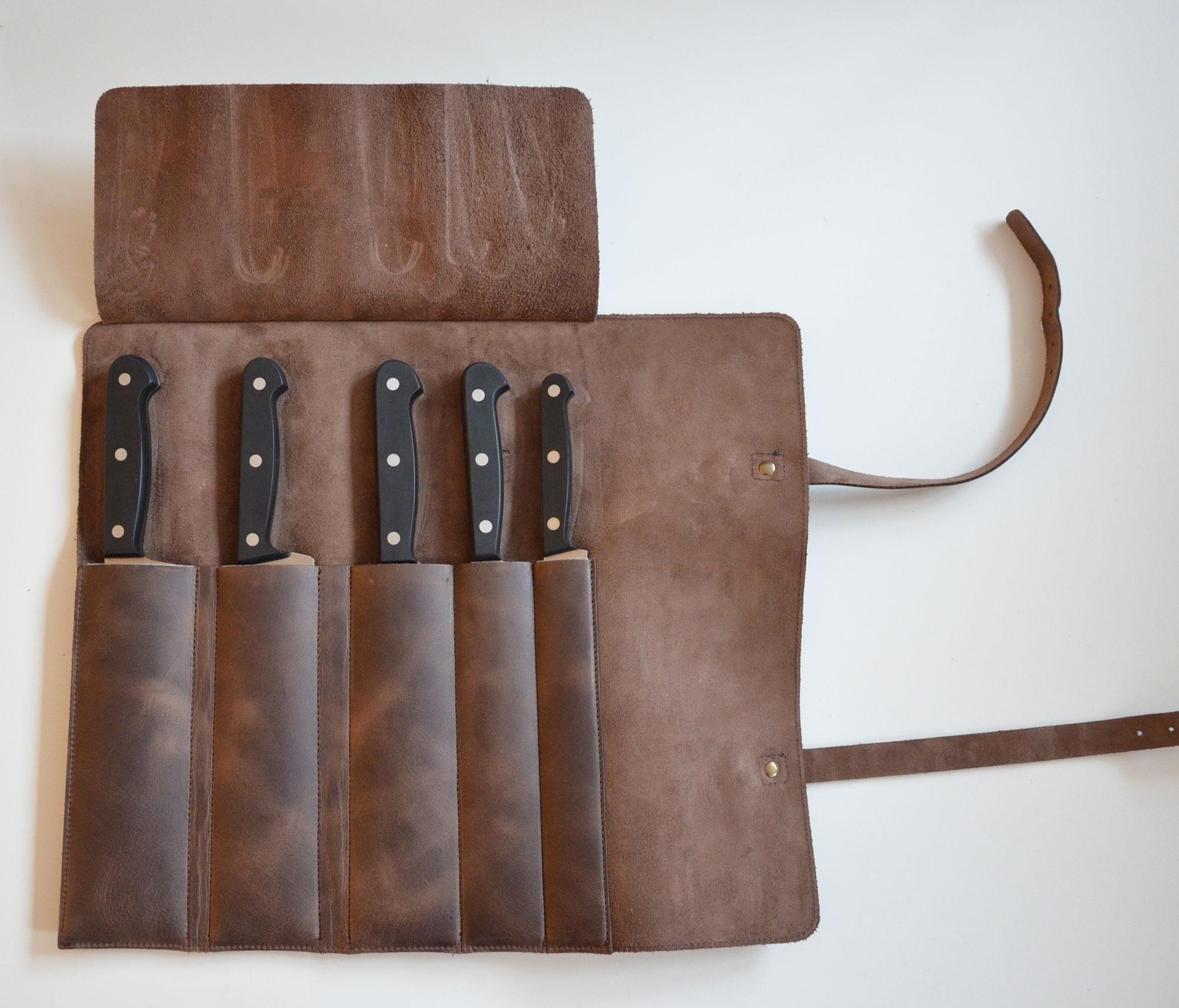 Funda kit cuero cuchillos